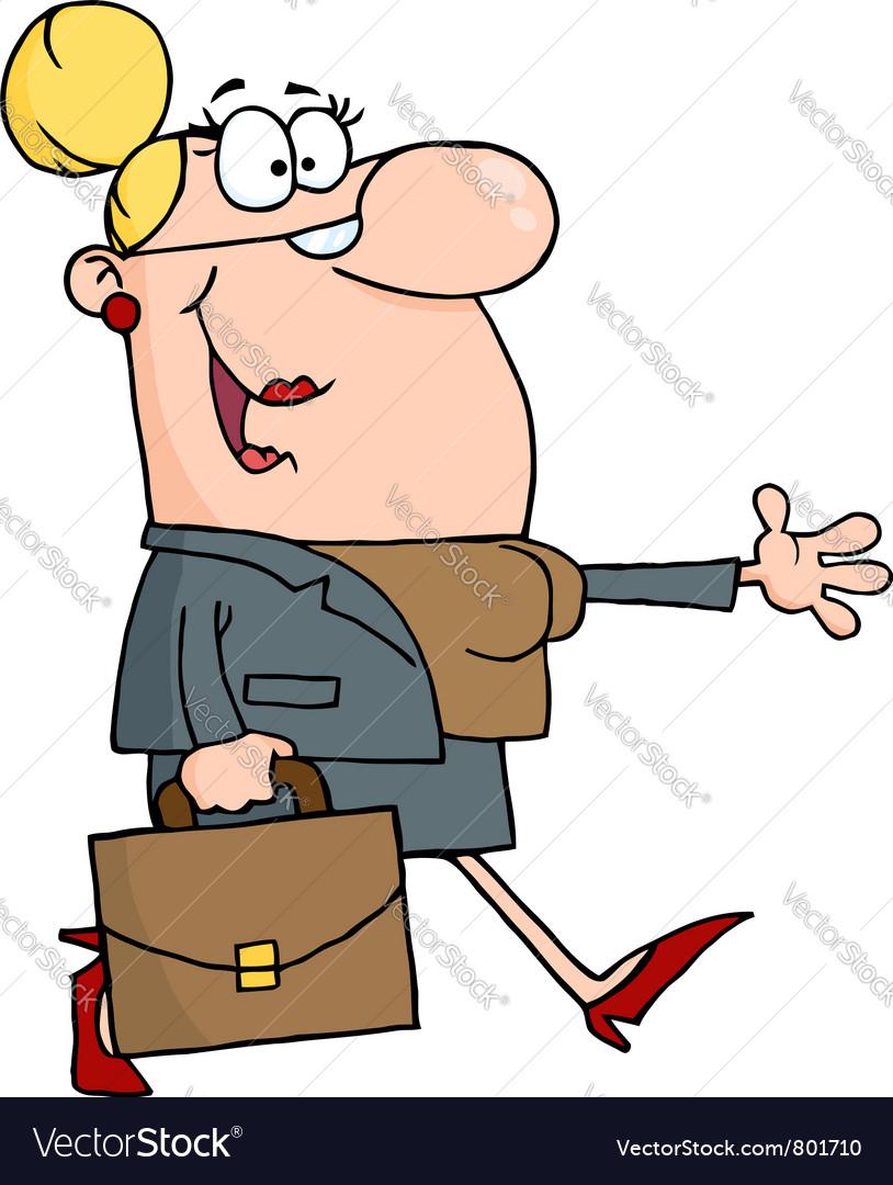 Smiled businesswoman walking vector