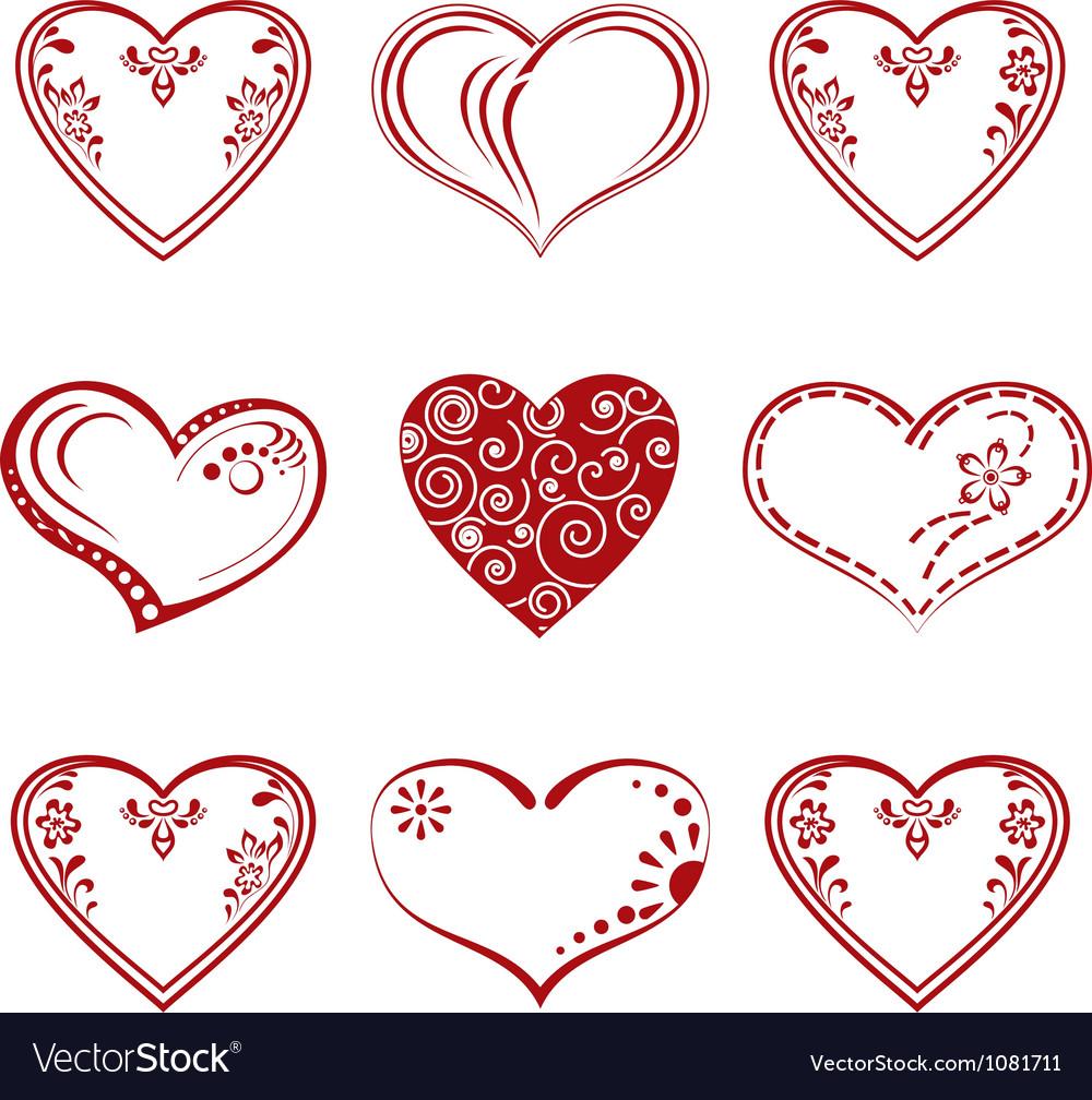 Valentine heart pictogram set vector