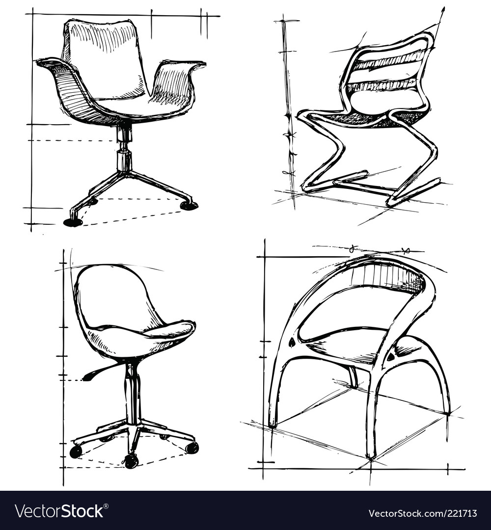 Chairs drawings vector