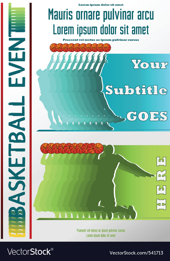Sport event poster basketball vector