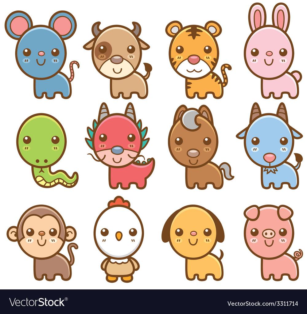 Chinese zodiac animal vector