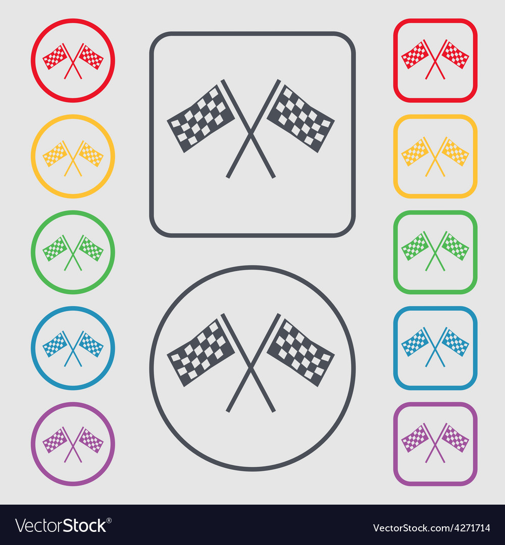 Race flag finish icon sign symbol on the round and vector