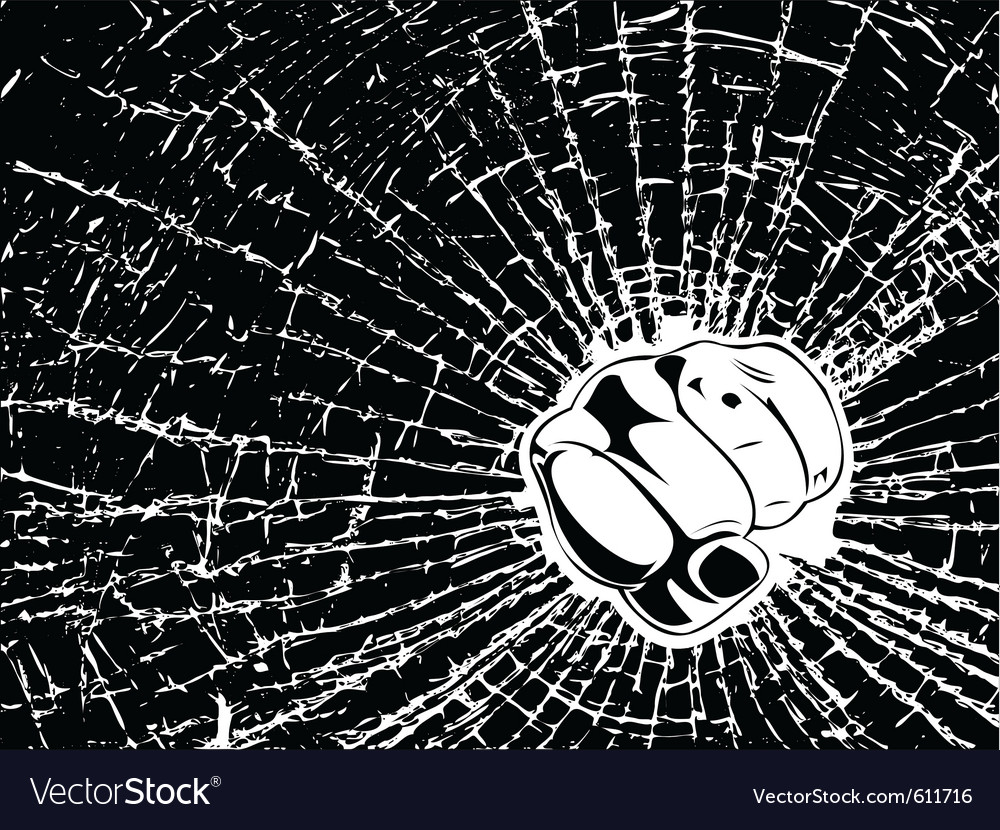 Broken glass fist vector