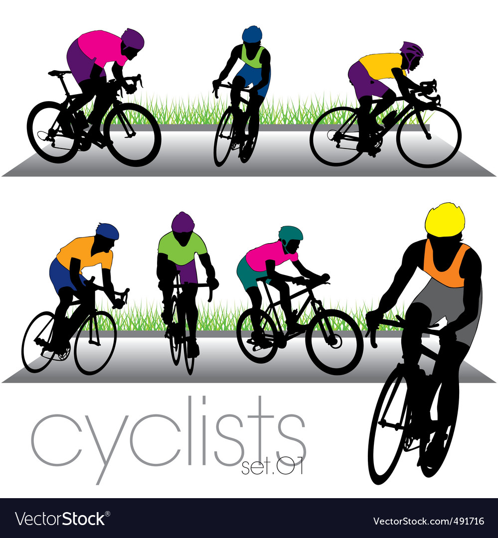 Cyclists set01 vector