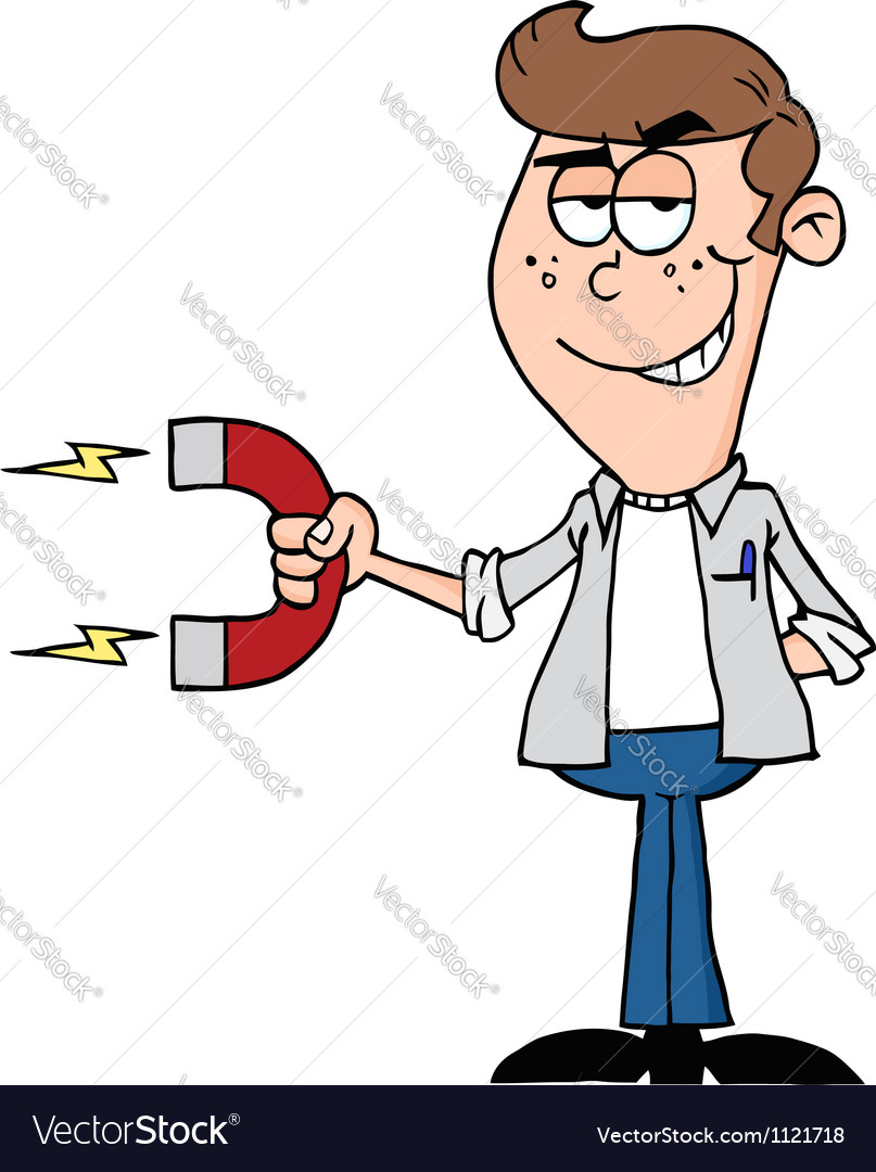 Happy youth business using a magnet vector