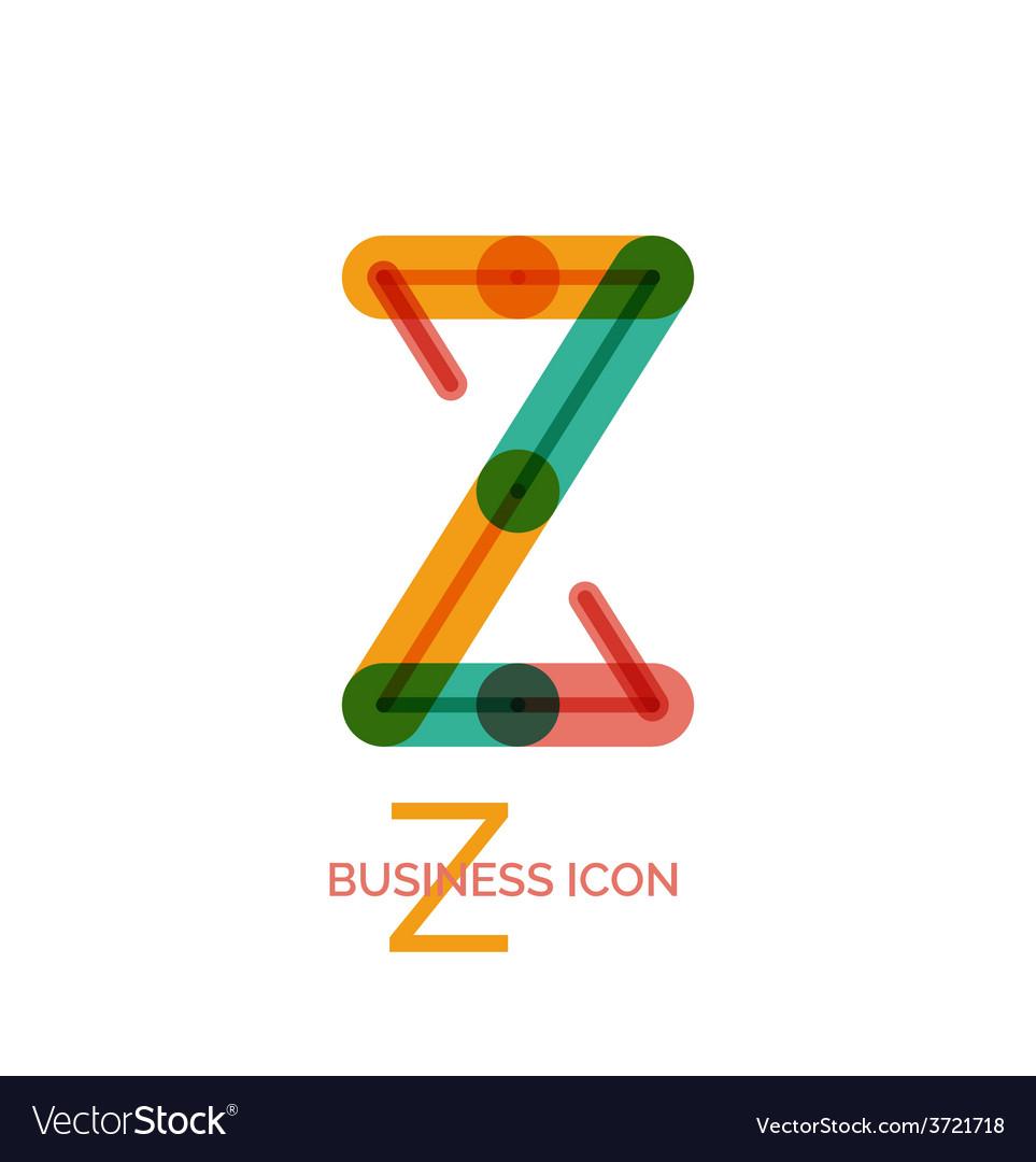 Minimal line font design letter z vector