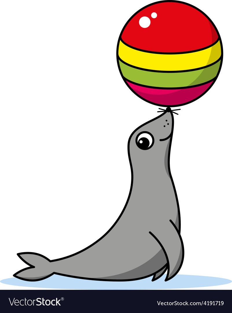 Cute cartoon seal vector