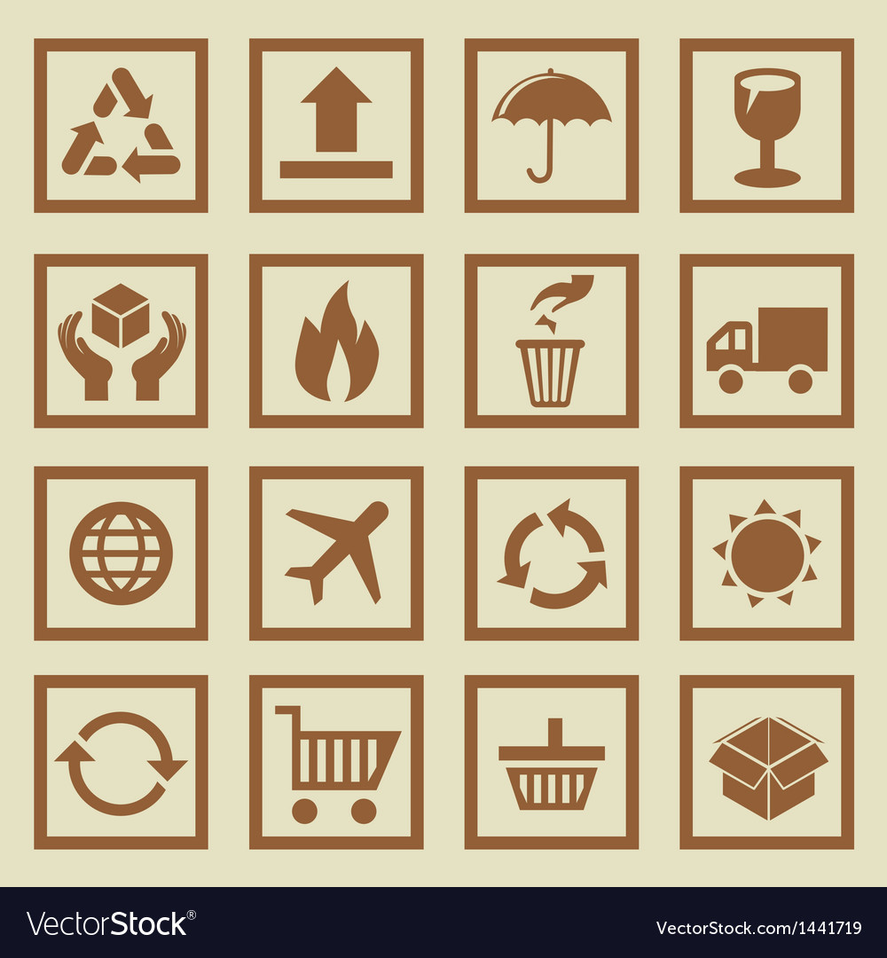 Set of package signs and symbols vector