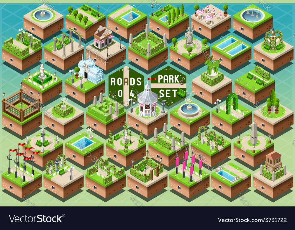 Isometric accessories for green city park set vector