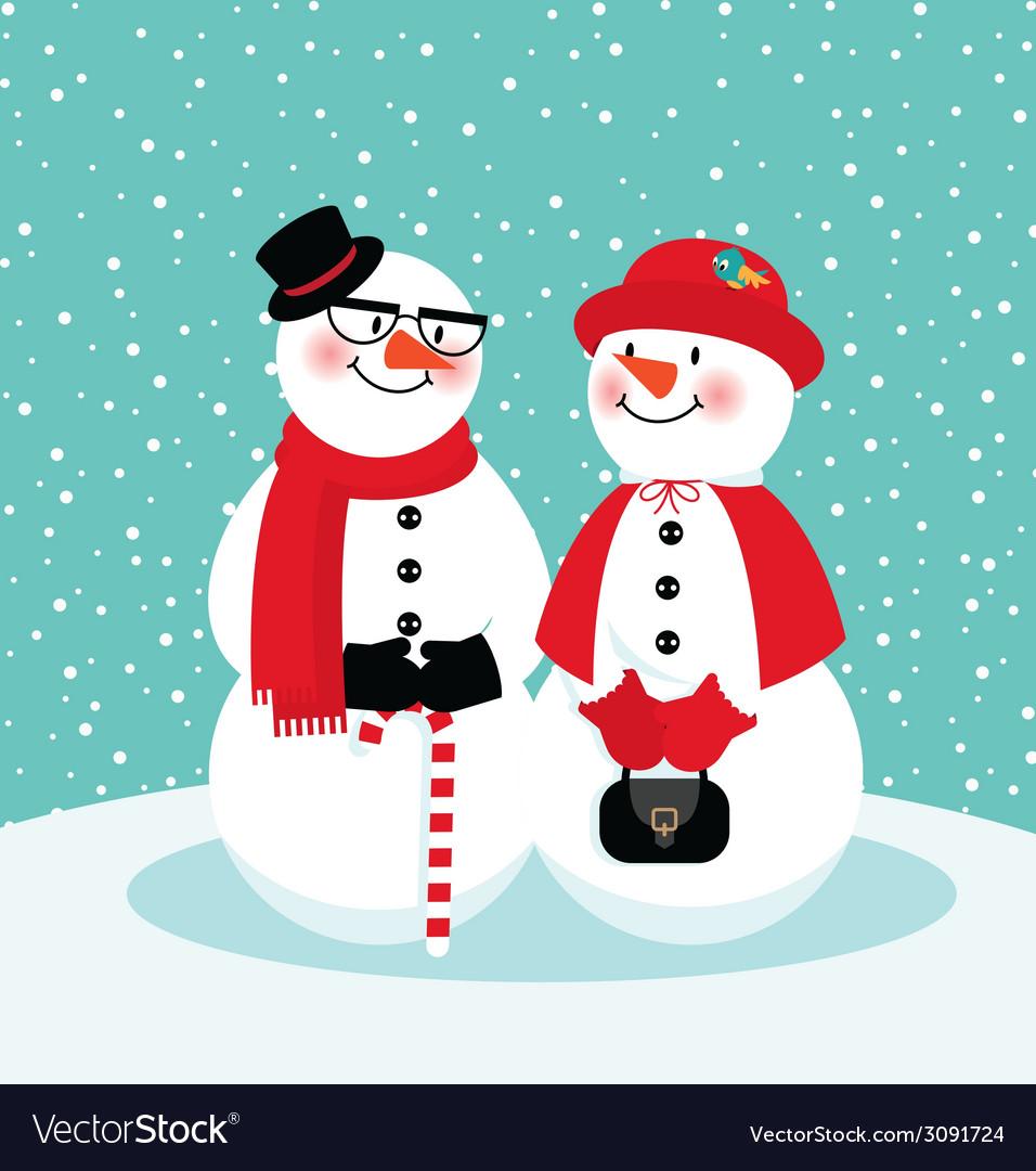 Couple of snowmen vector