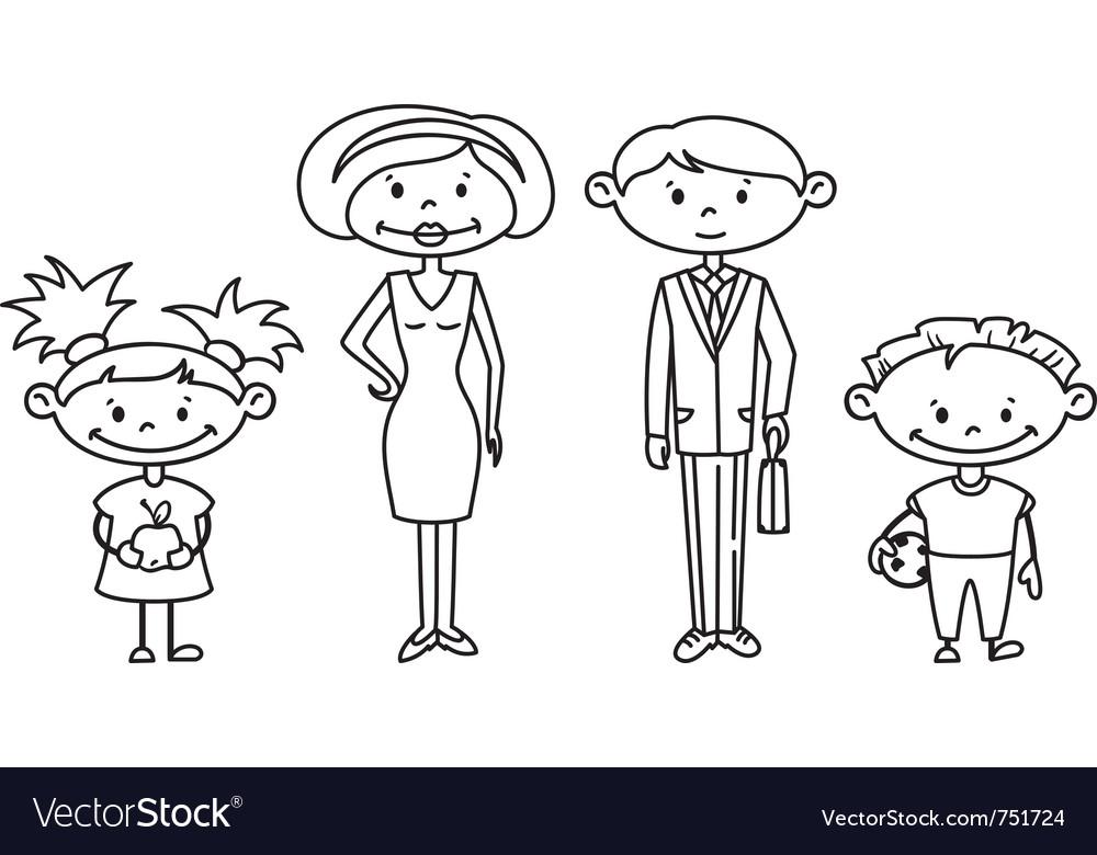 Cute doodle family set vector