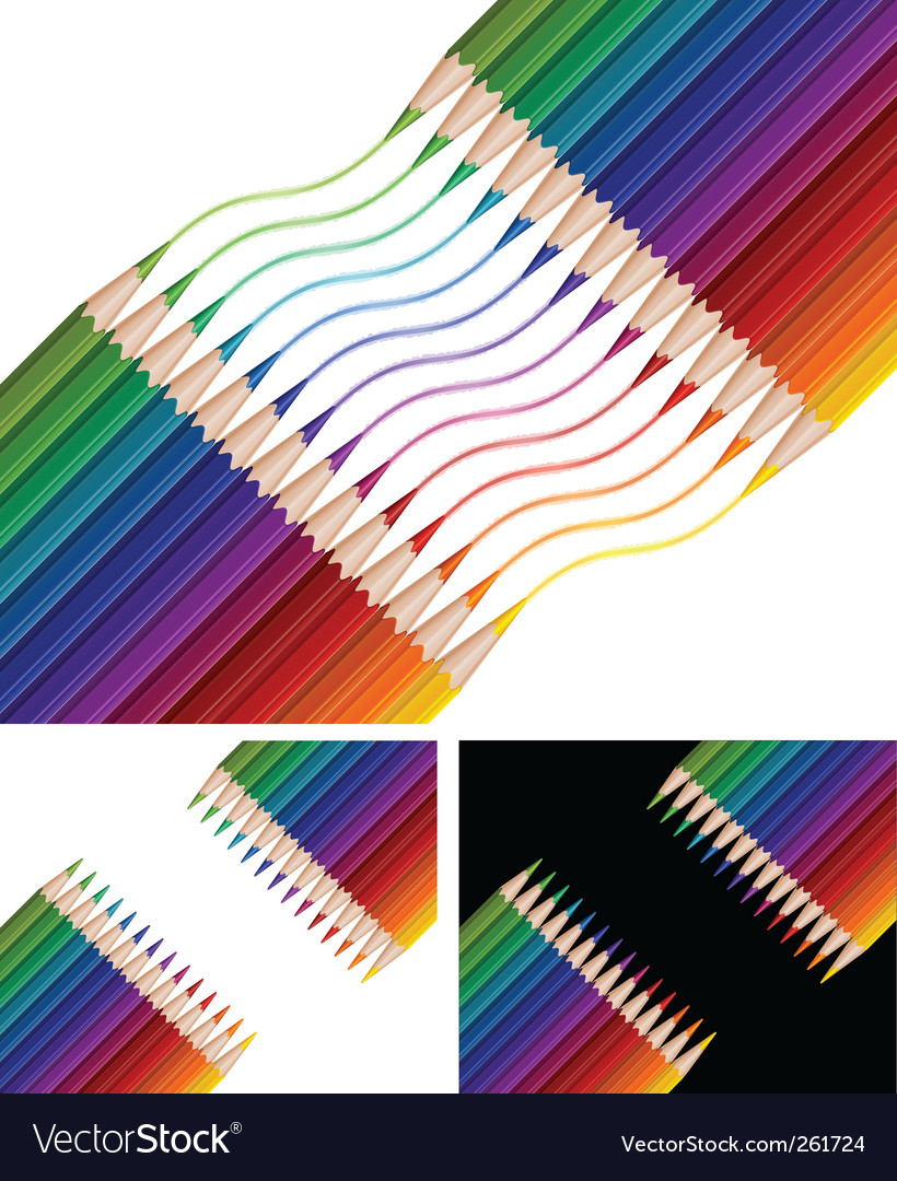 Pencils drawing rainbow vector