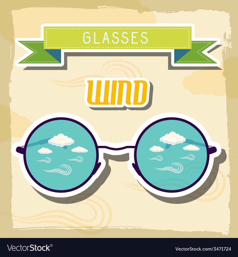 Set retro glasses background concept vector