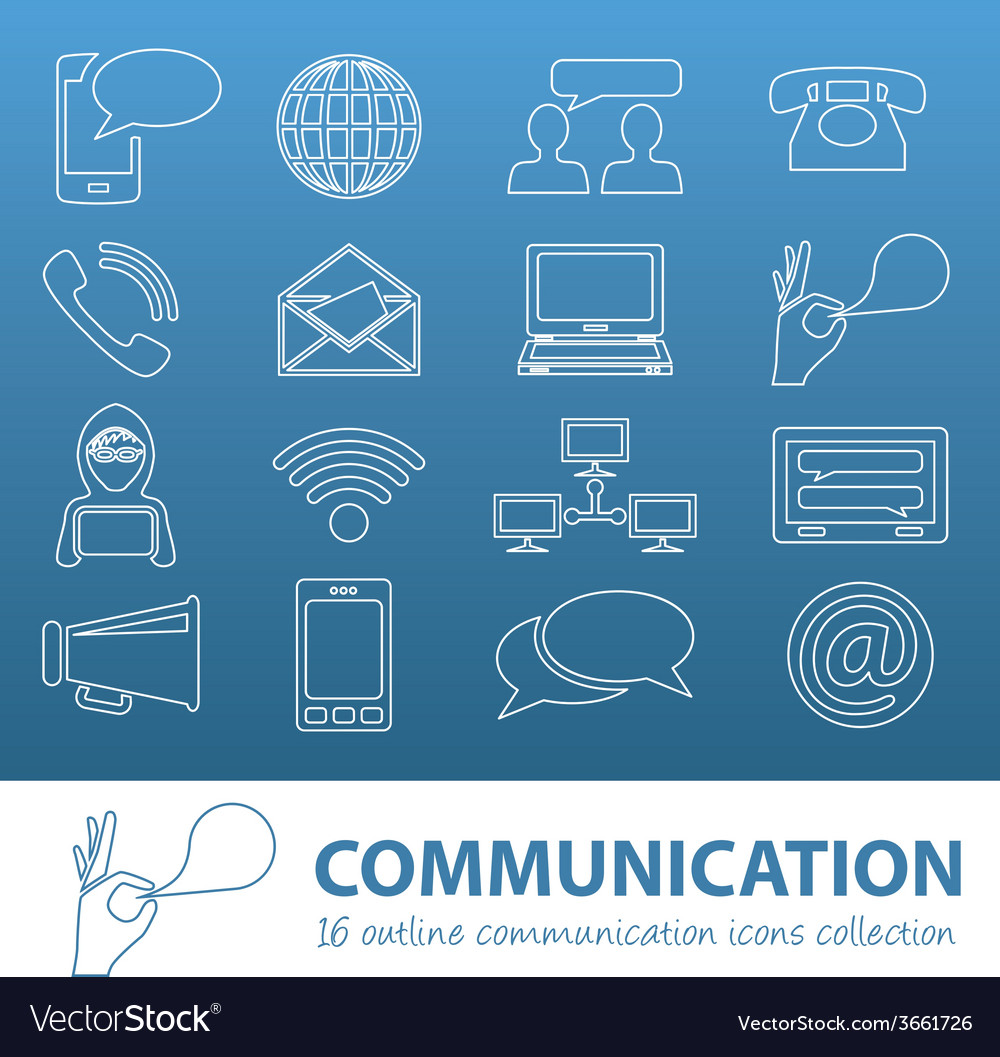 Communication outline icons vector