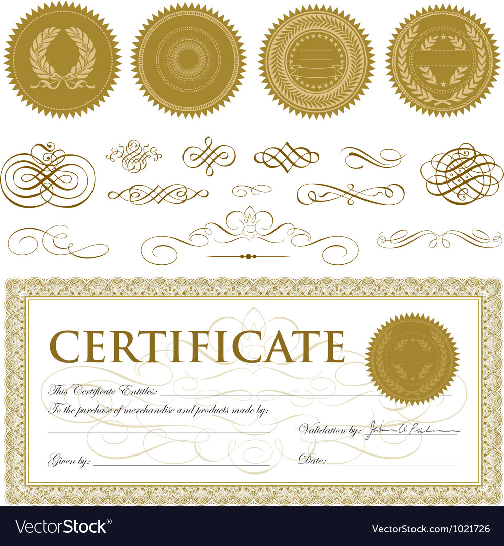 Formal certificate template vector