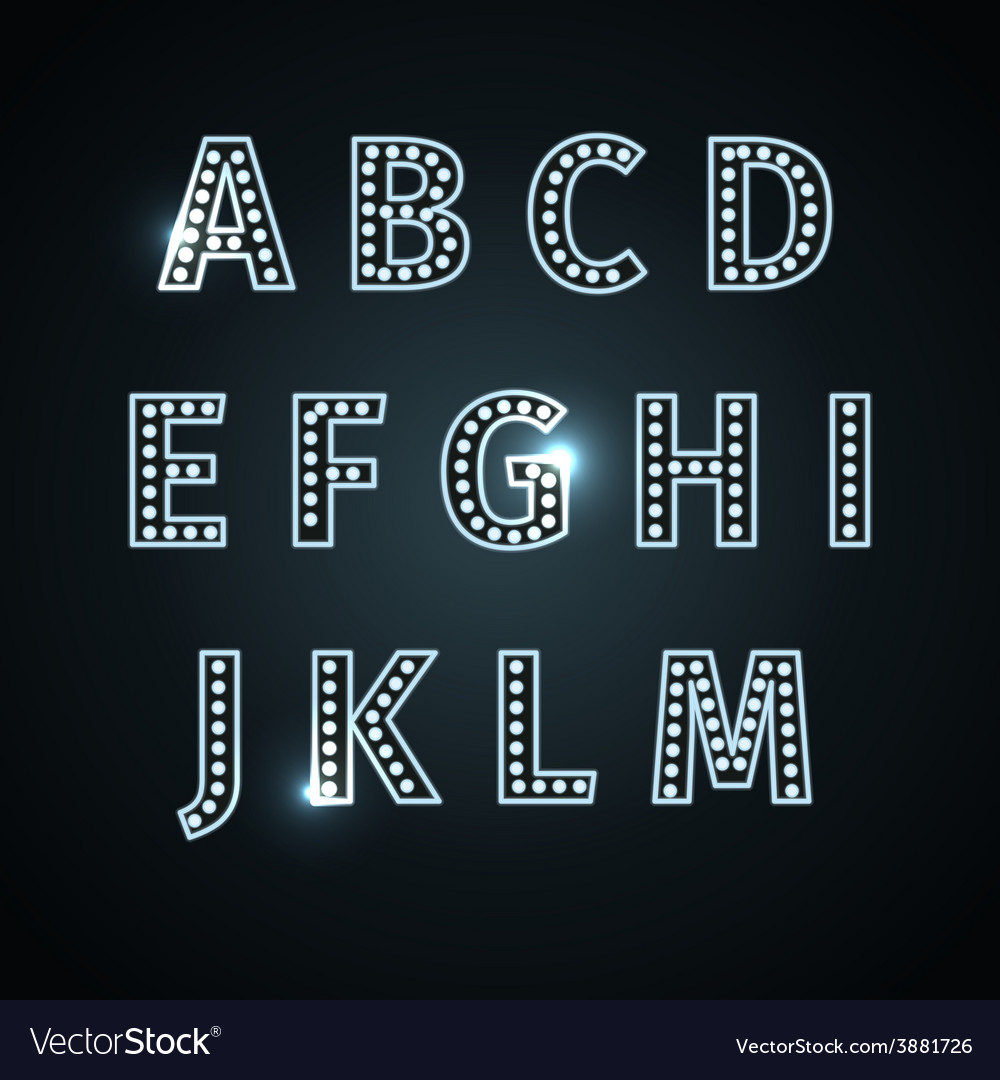 Retro glowing font vector