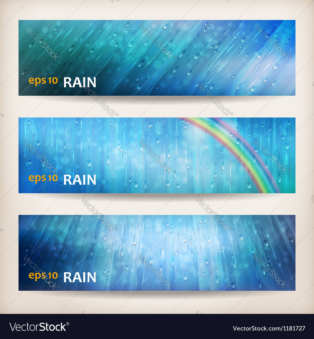 Blue rain banners abstract water background design vector