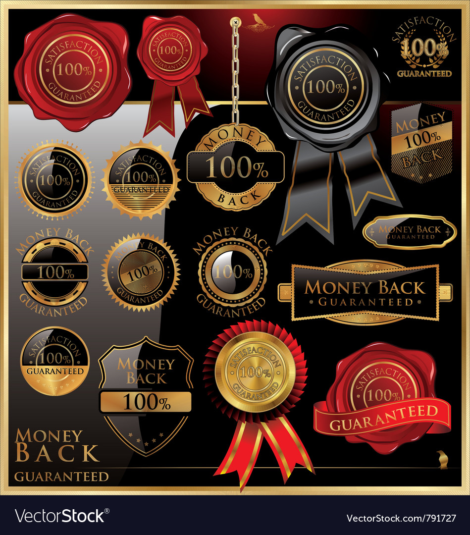 Money back satisfaction labels vector