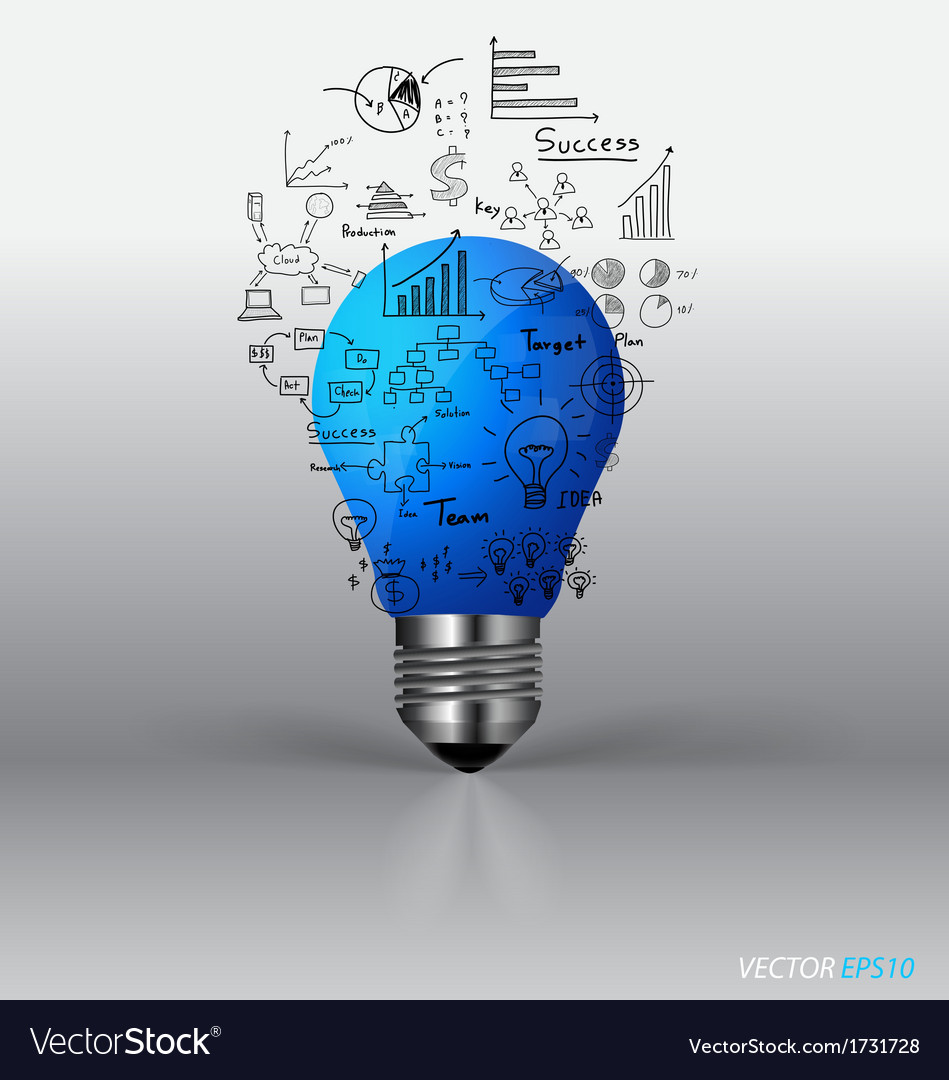 Light bulb with drawing graph inside vector