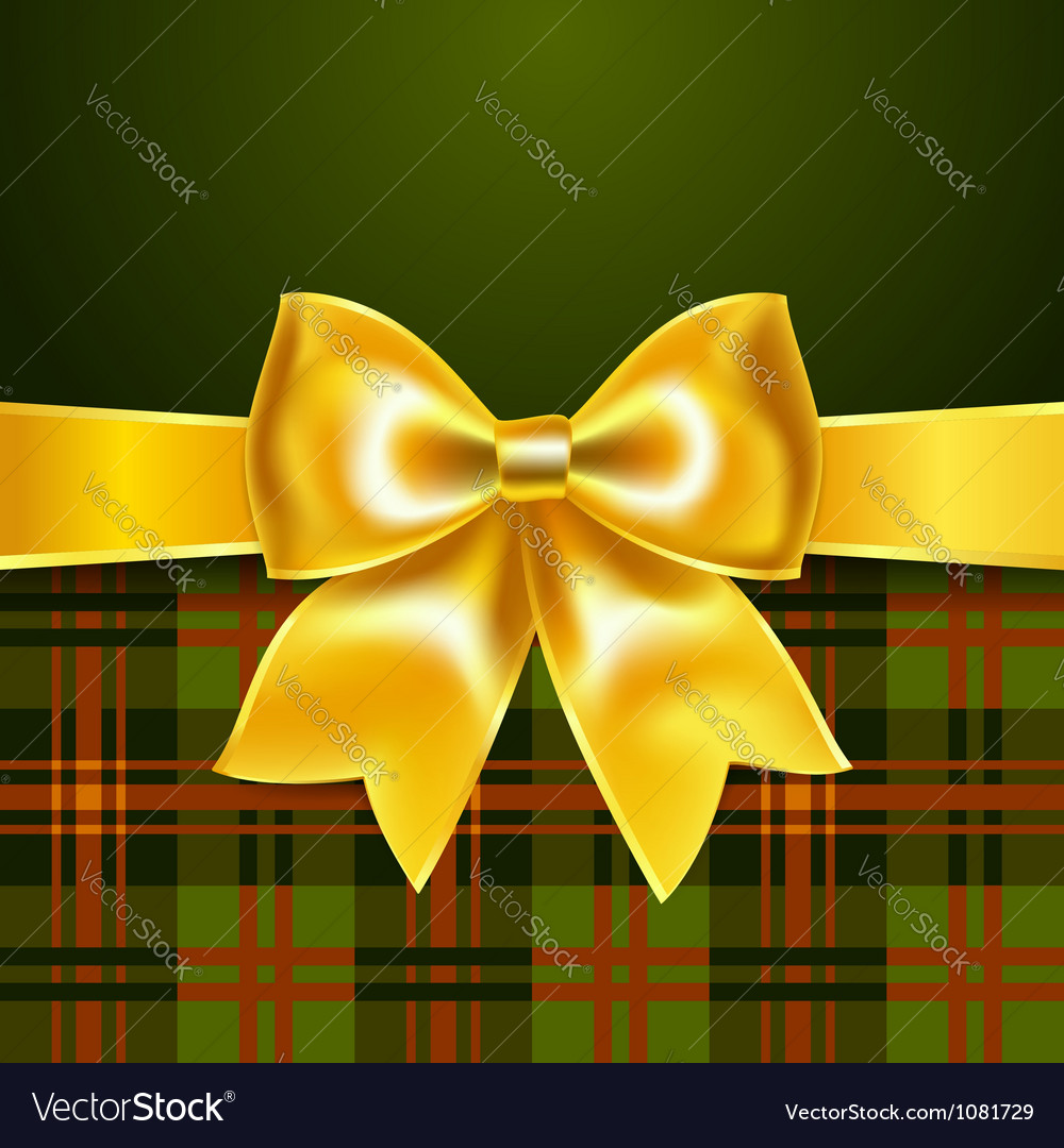 Background with yellow ribbon bow vector