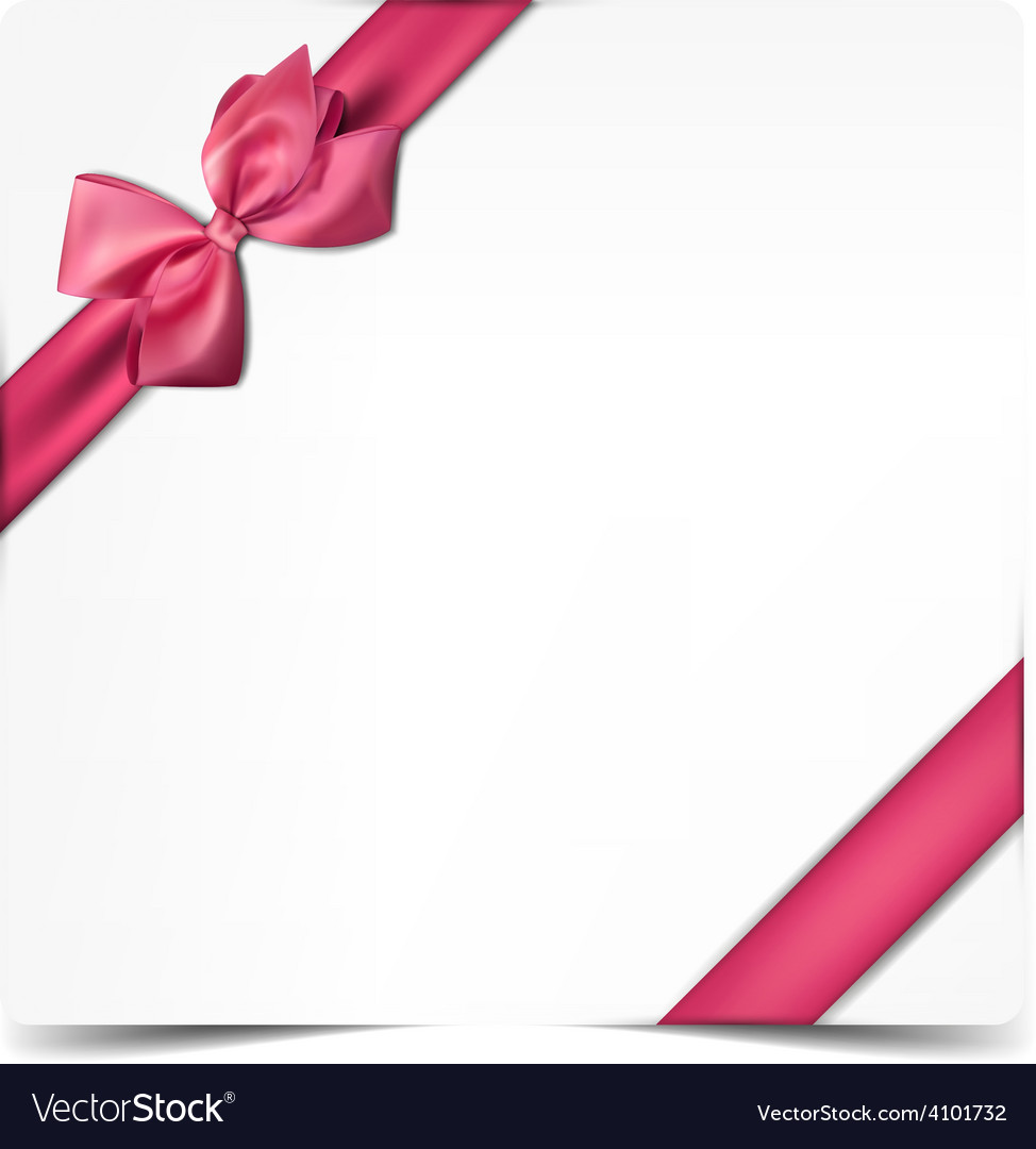 White paper card with gift pink satin bow vector