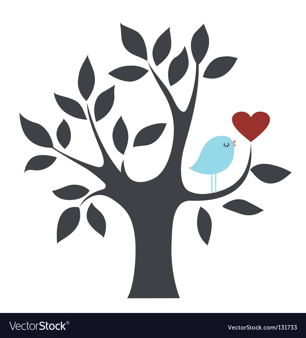 Bird and tree vector