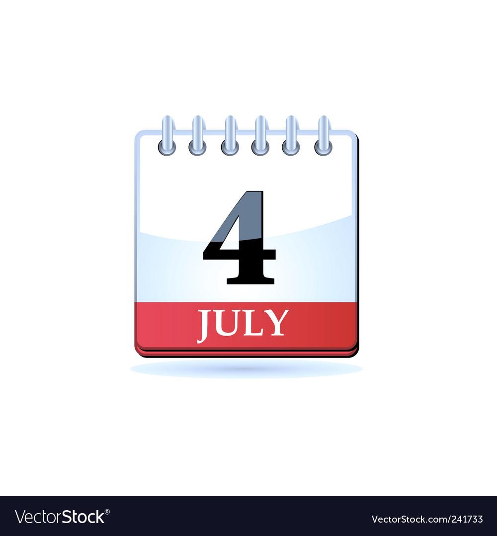 Fourth of july calendar vector