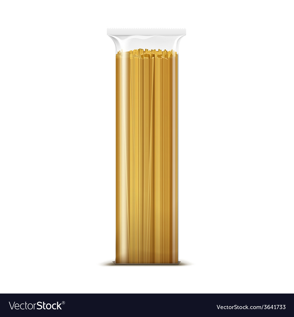 Spaghetti pasta packaging template isolated vector