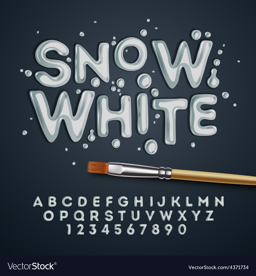 Snow white alphabet and numbers vector