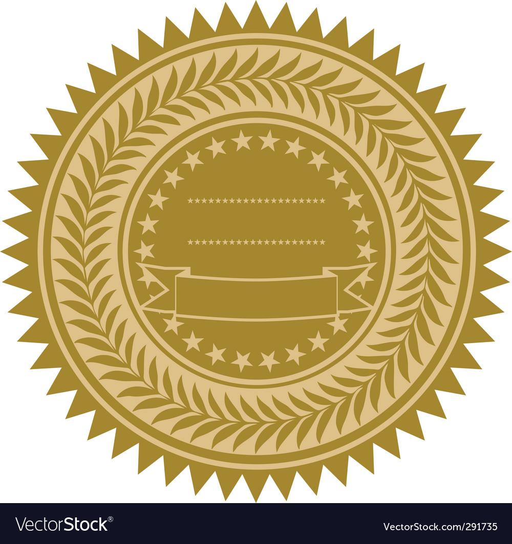 Gold wreath seal vector