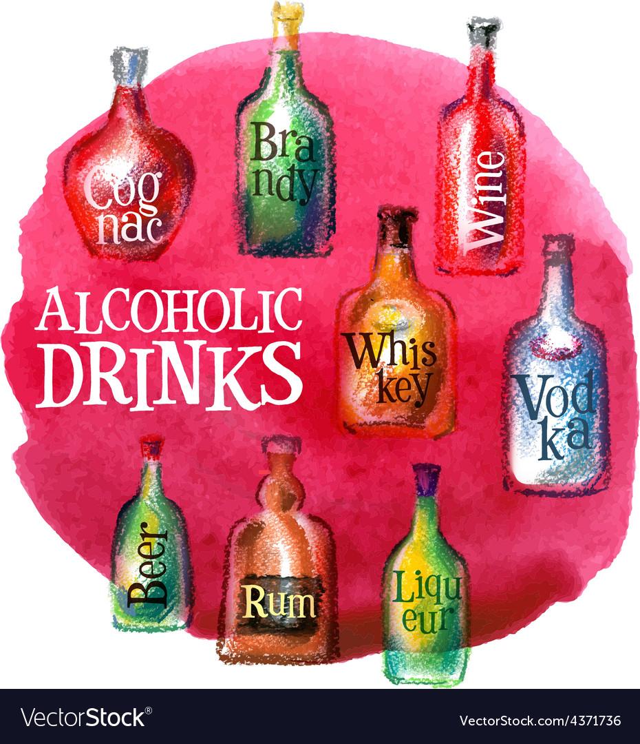 Alcoholic beverages logo design template vector