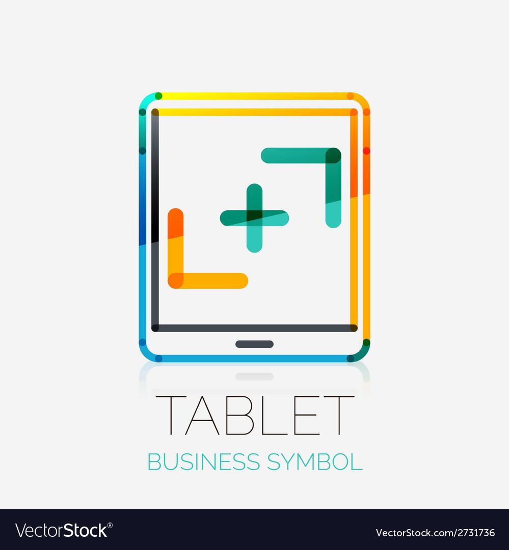 Tablet screen icon company logo business concept vector