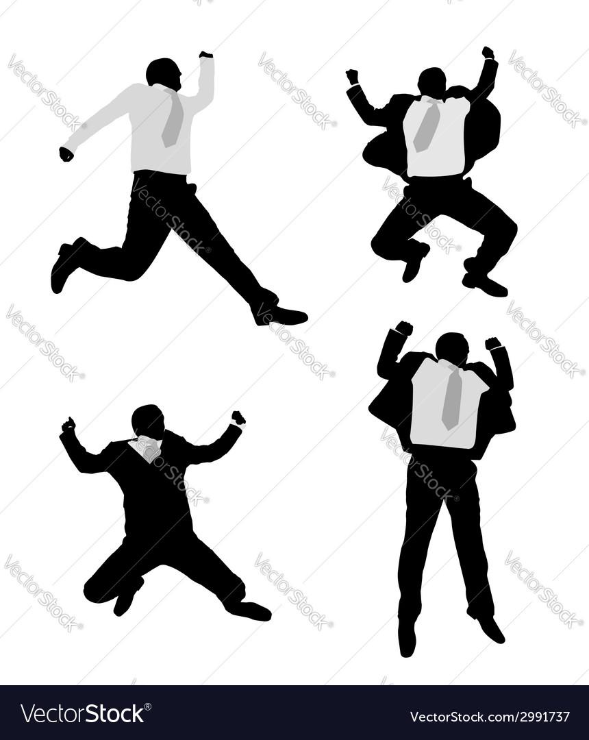 Excited businessmen jump vector