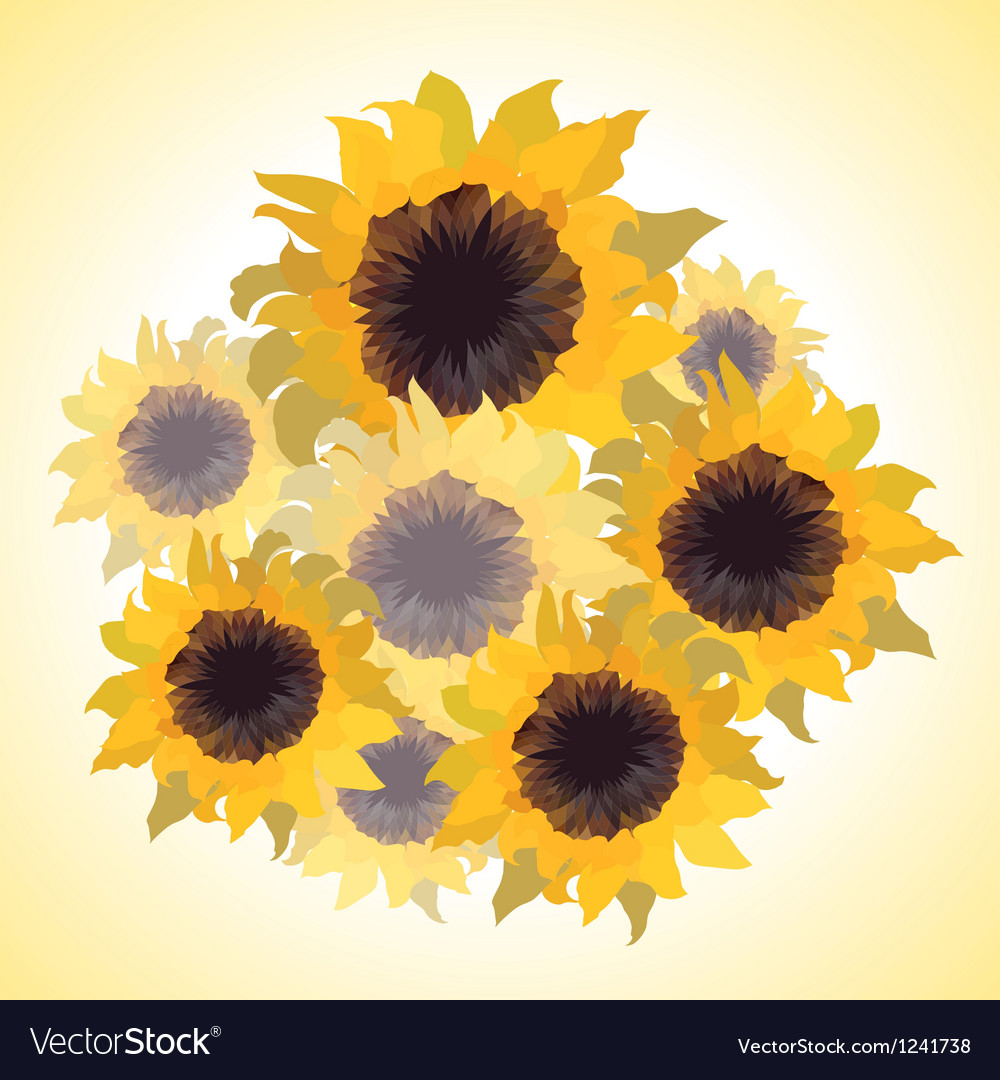 Bouquet with sunflowers vector