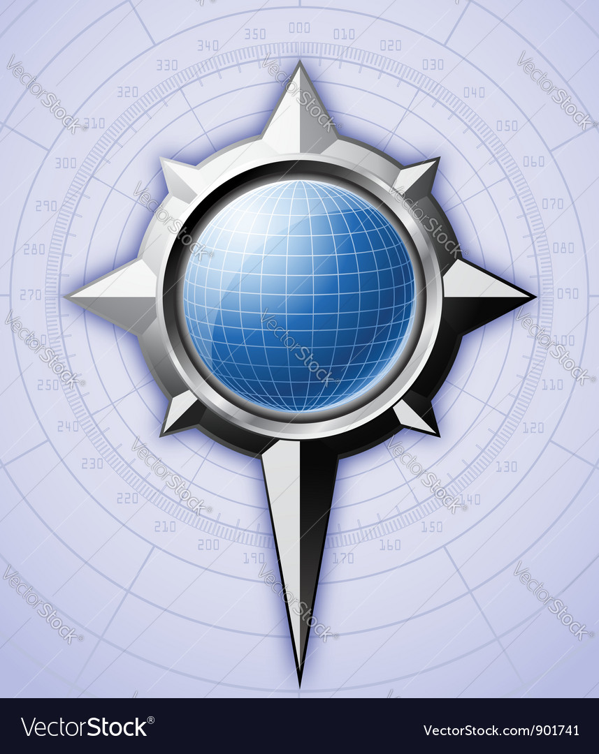 Steel compass rose with blue globe inside it vector
