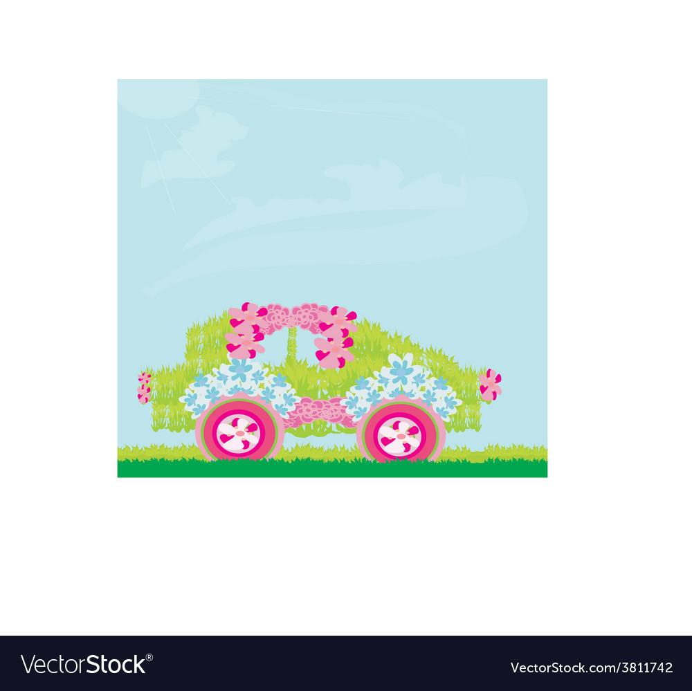 The ecological car from plants vector