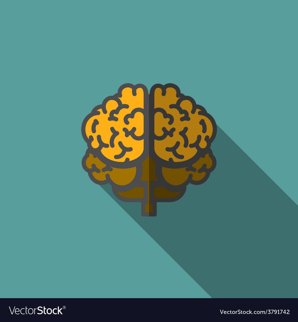 Flat human brain with long shadow vector