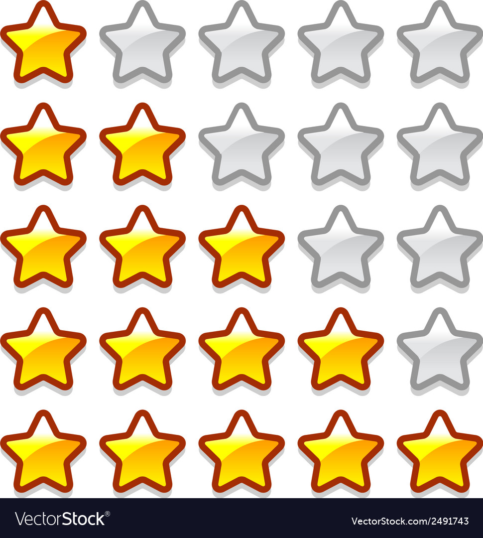 Game web rating stars set vector