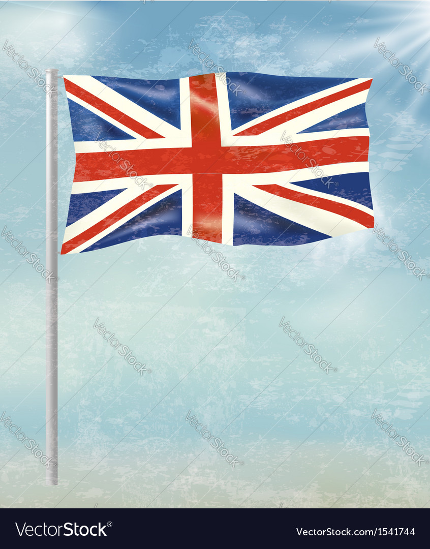 Retro background with flag of the united kingdom vector