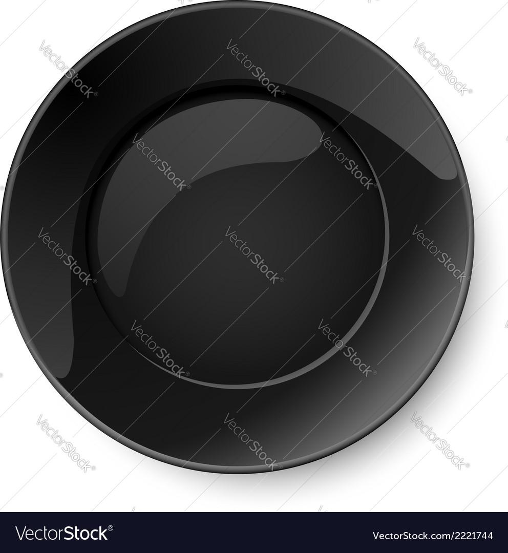 Round black plate vector