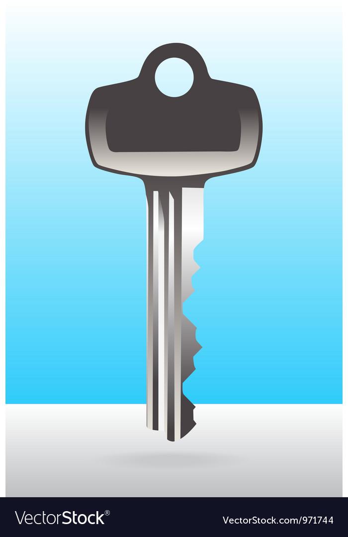 Silver house door key vector
