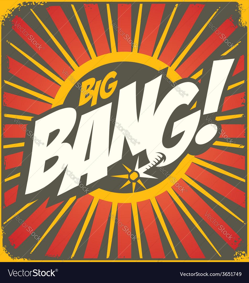 Big bang retro sign template vector