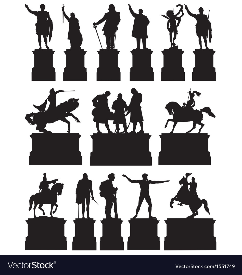 Statues on plinths vector