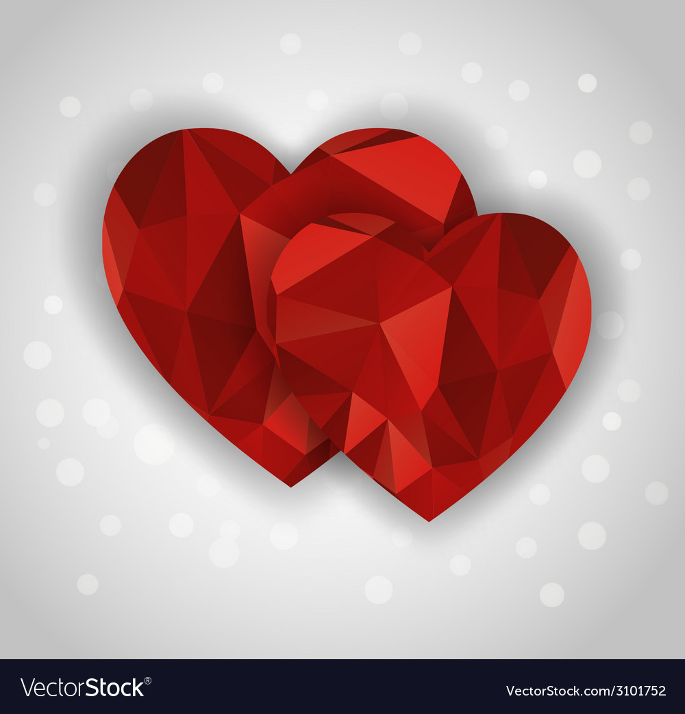 Two abstract diamond hearts shape greeting card vector