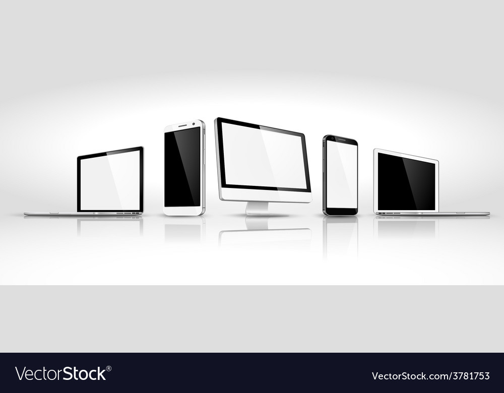 Set of modern devices isometric vector