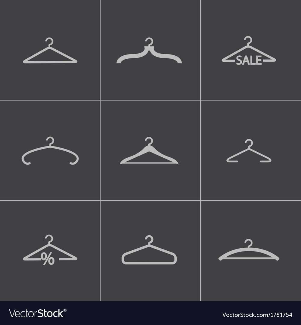 Black hanger icons set vector