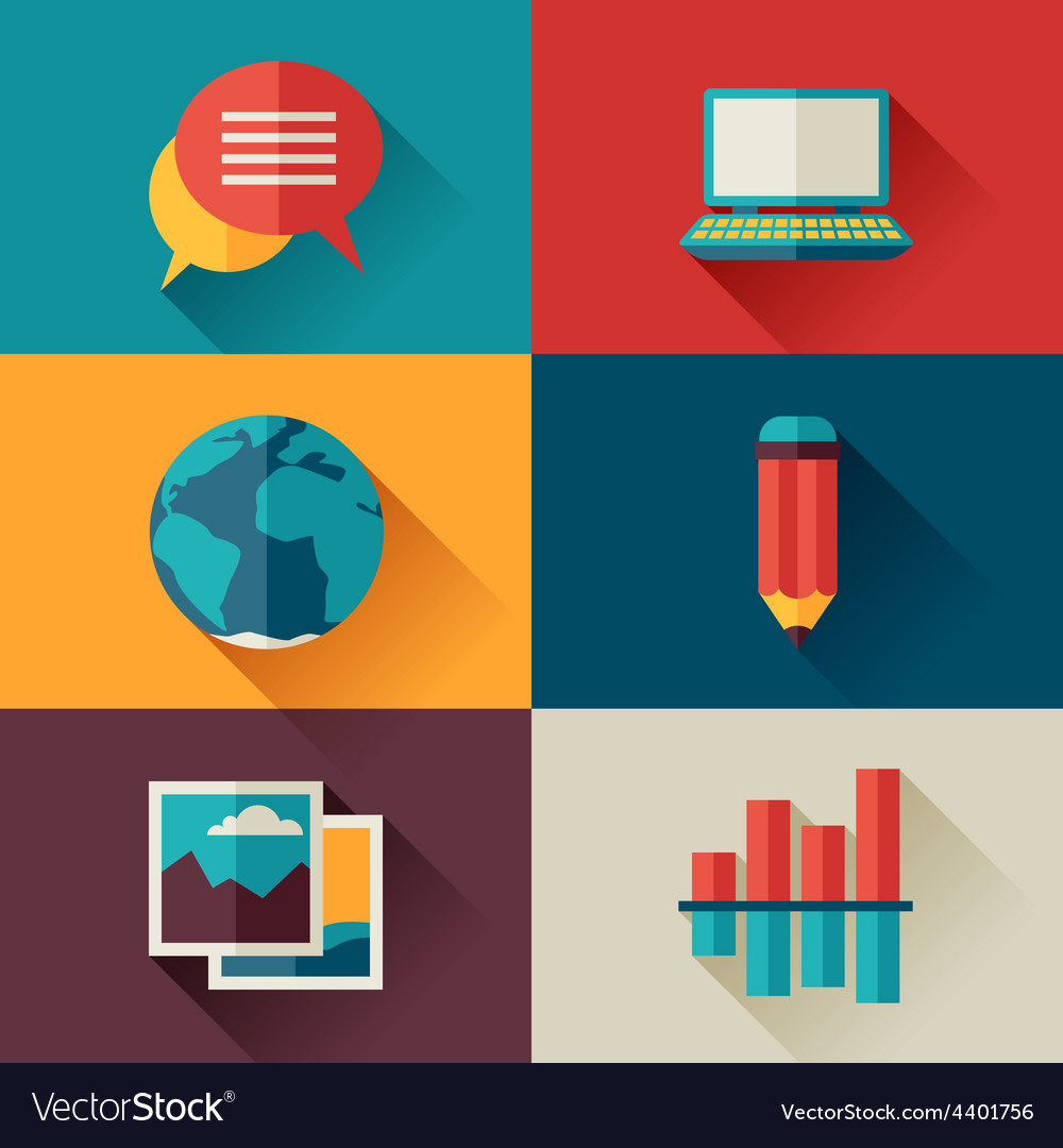 Set of blog icons in flat design style vector