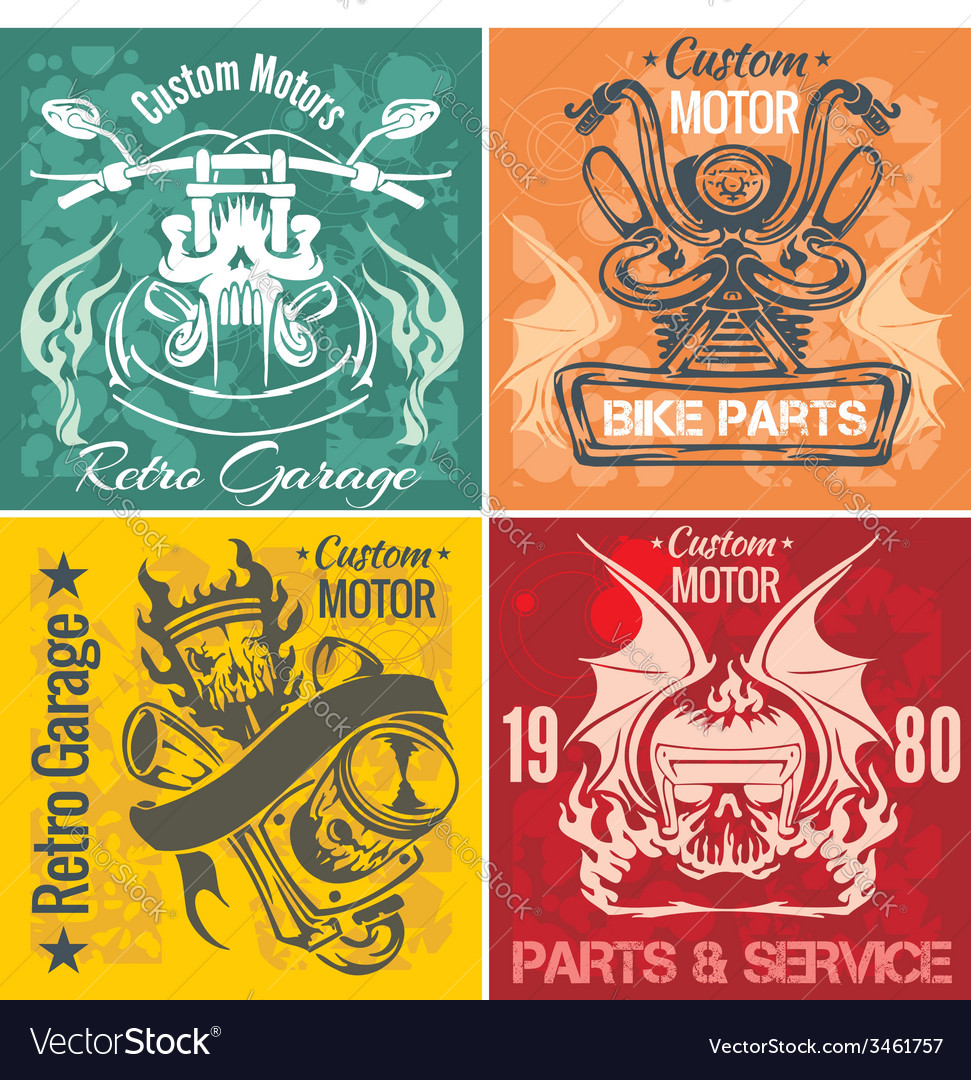 Set of vintage motorcycle labels stpck vector