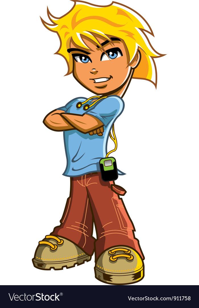 Blonde boy with headphones vector