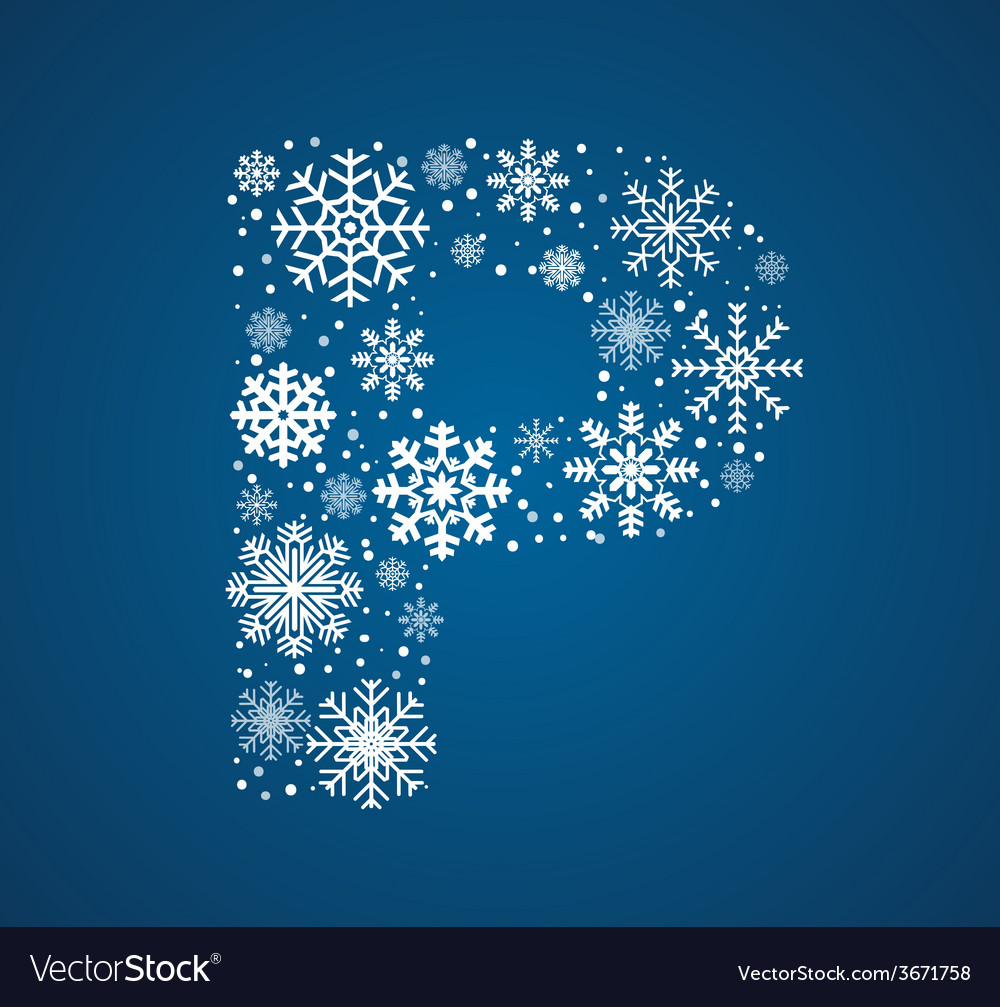 Letter p font frosty snowflakes vector